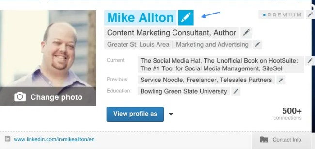 Edit your LinkedIn profile by mousing over elements and clicking on the pencil icon.