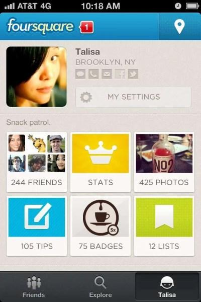 """foursquare """"Me"""" screen"""