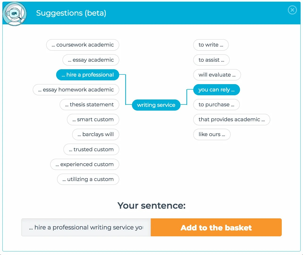 full sentences and phrases that you can add to create optimized content