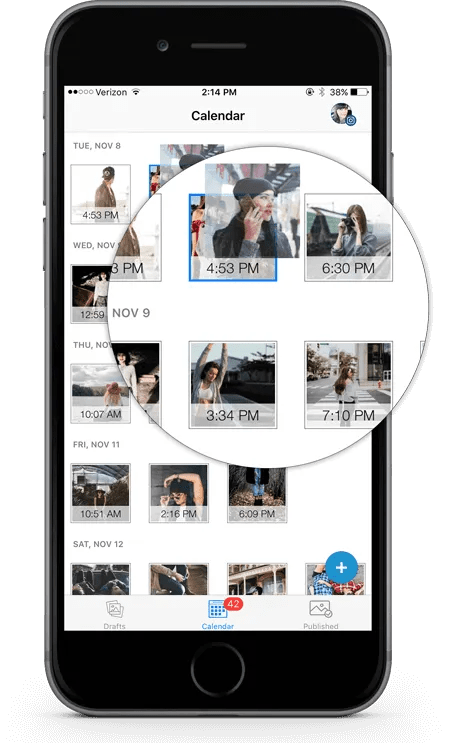 Tailwind for Instagram provides complete calendaring of posts.
