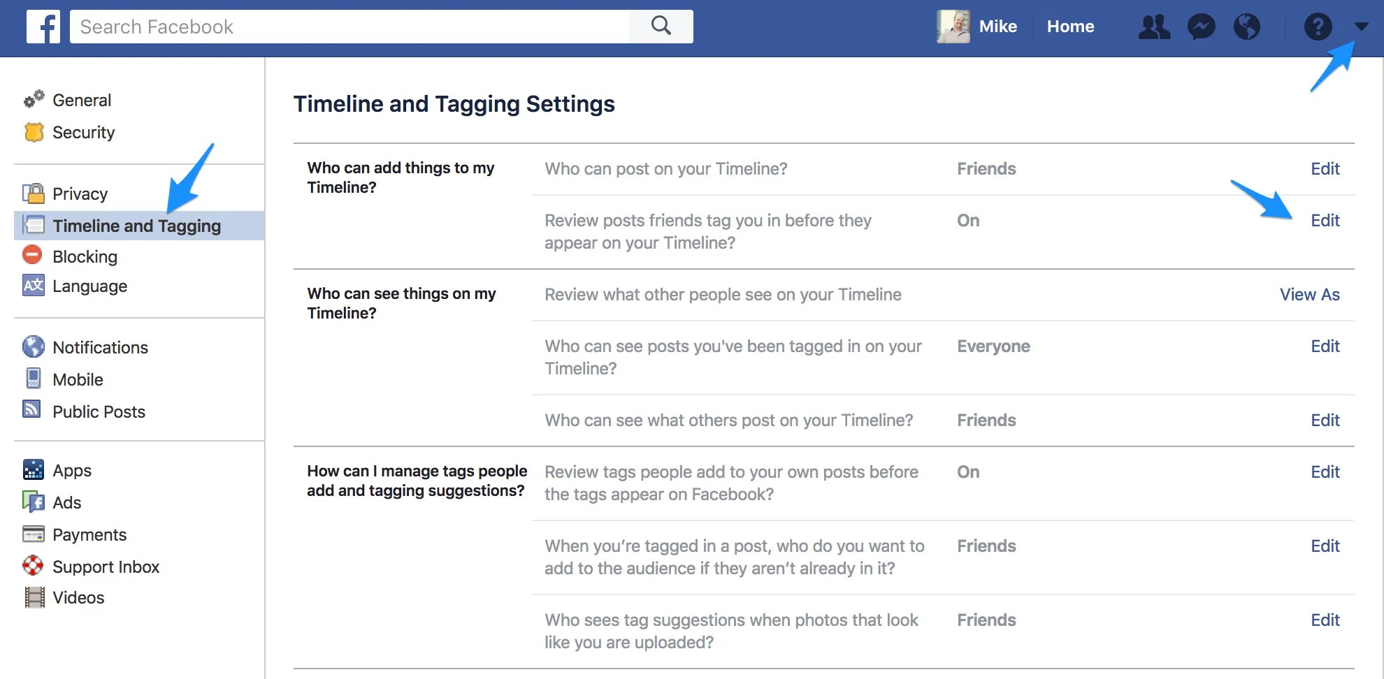 Use the Timeline and Tagging Settings within Facebook to manage tagging.