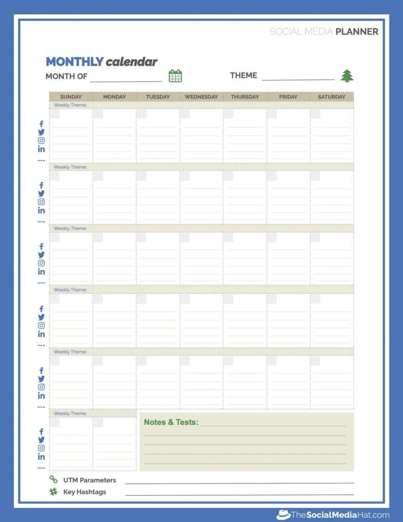 Social Media Planner Calendar