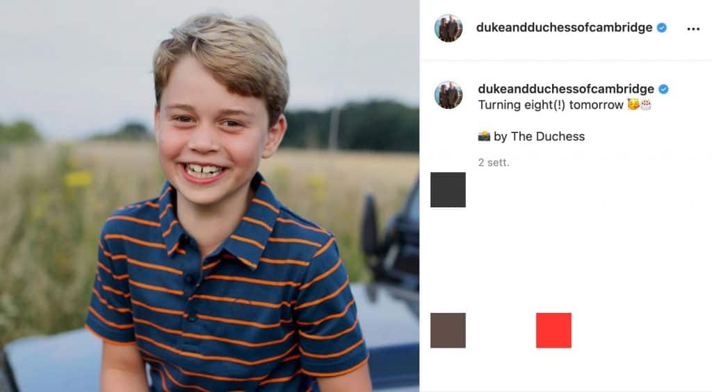 Il post Instagram per il compleanno di George