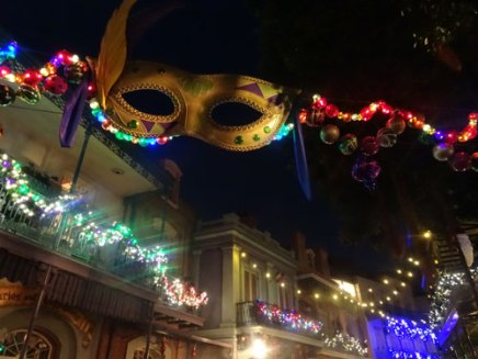 Mardi gras themed Christmas decorations.