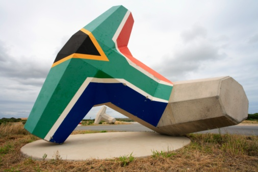 South African flag on giant dolos
