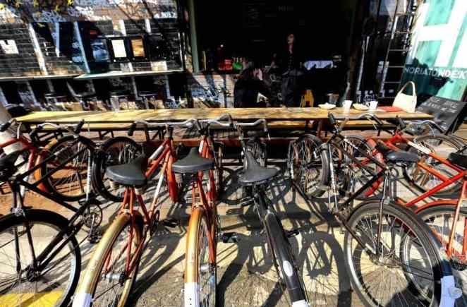 Bicycles parked outside Uncle Merv's, Moboneng