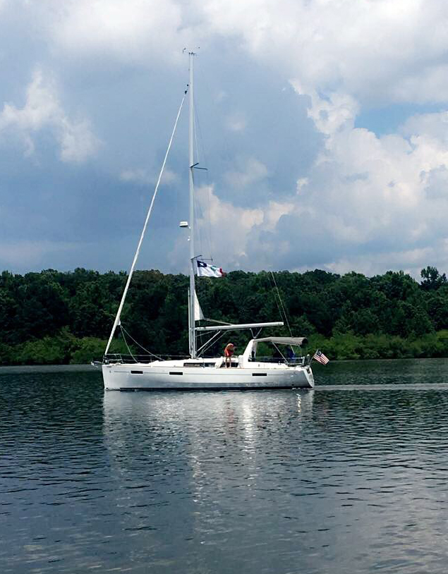 A boat on Sardis Lake near Oxford, Mississippi.