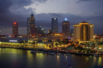 A night view of Tampa, Florida.