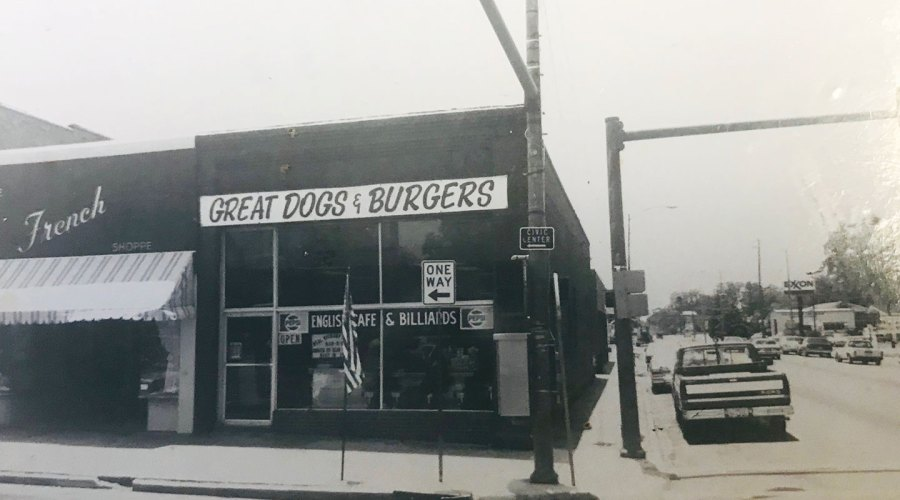 The exterior of a business in black and white.