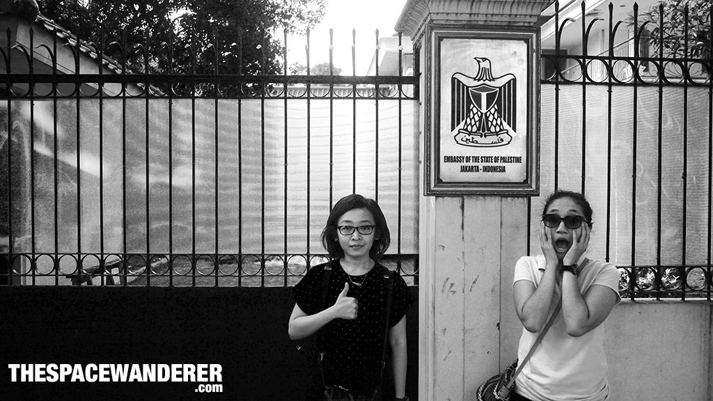 Varin and Inayu infront of Embassy of Palestine in Jakarta