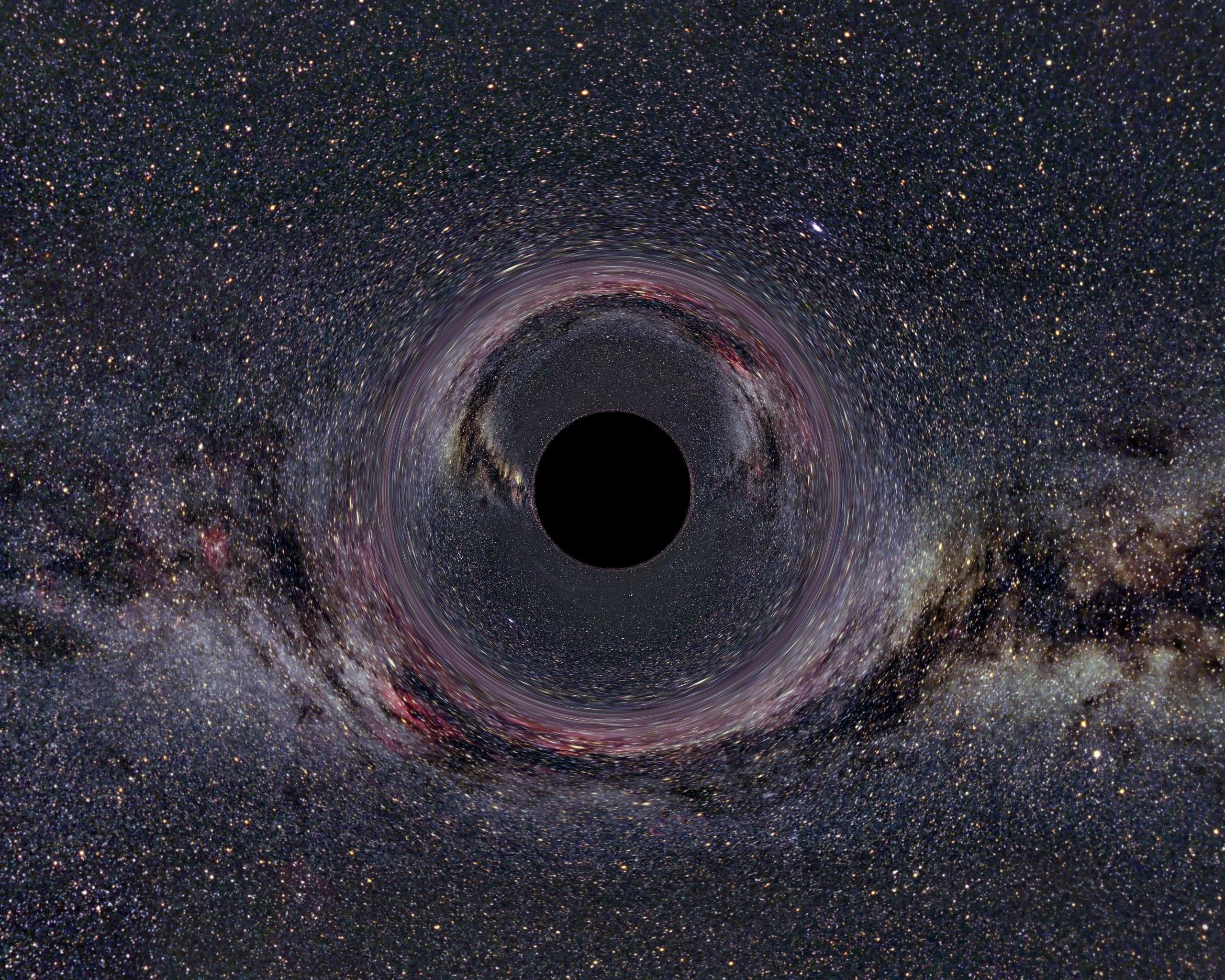 A simulated view of a 10-solar-mass black hole 600 miles (900 km) away from the observer -- and against the plane of the Milky Way Galaxy.