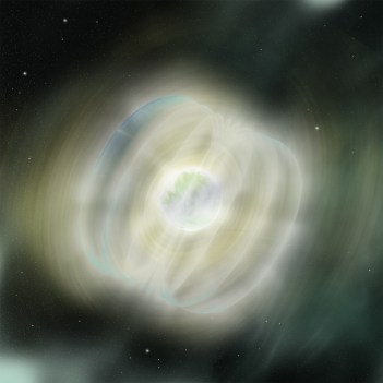An artists conception of a magnetar.  Courtesy NASA and Wikimedia Commons. Click to embiggen.
