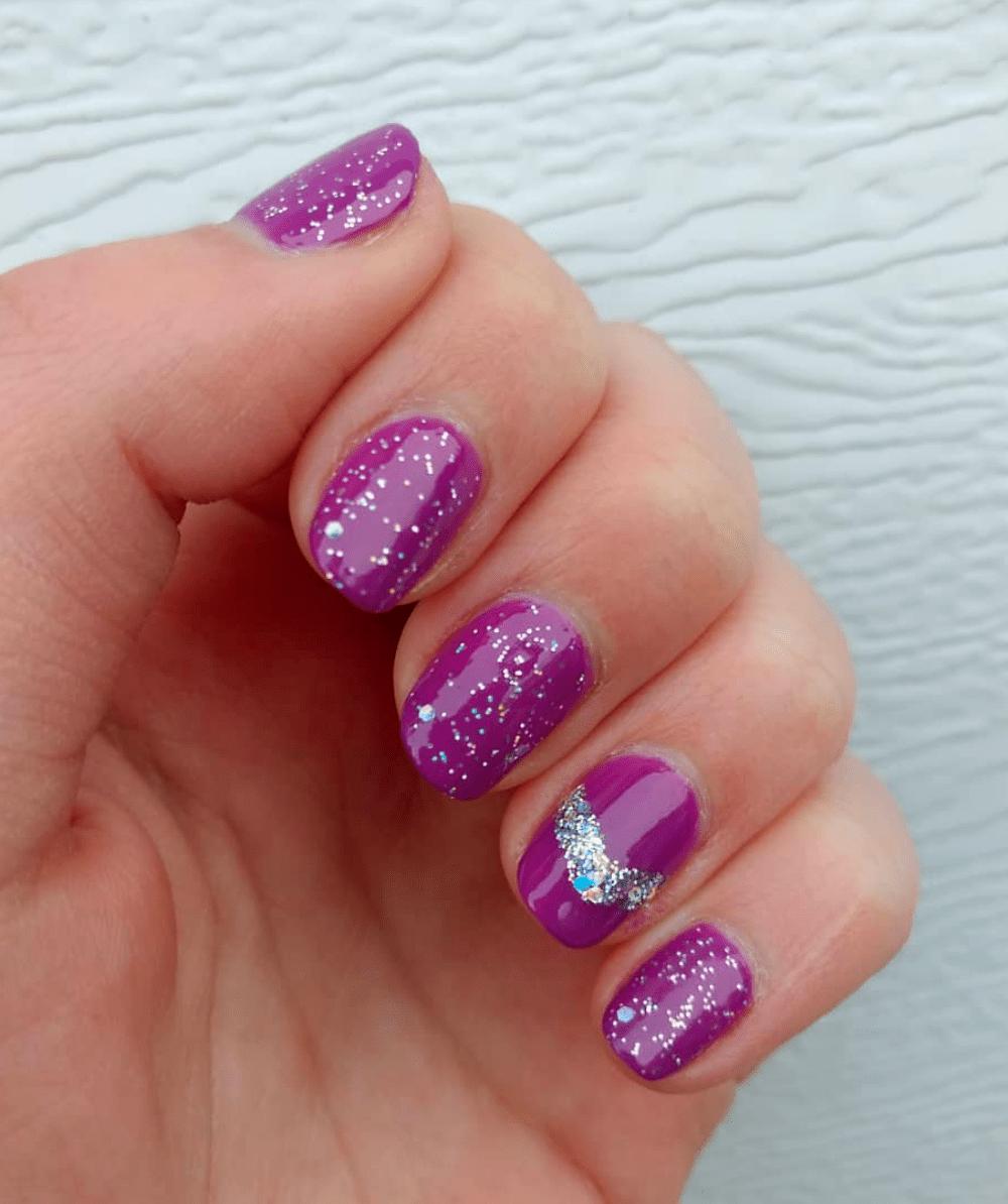Purple glitter nail designs