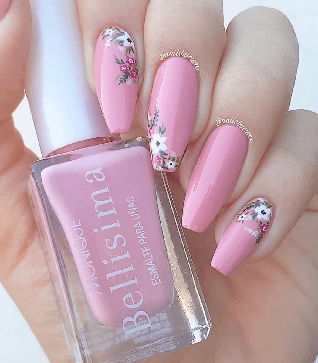 Pink Nail with Sophisticated Flower Nail Design