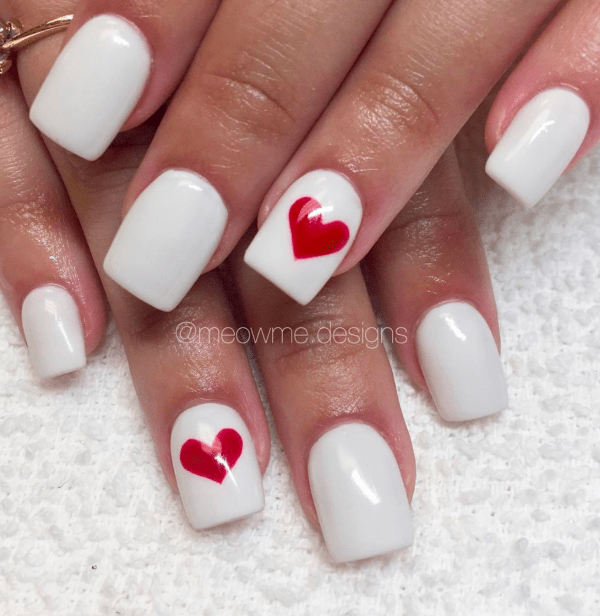 White with Bold Red Heart Nails