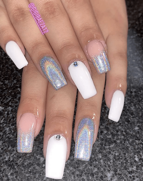 SIlver and White Holographic Nails