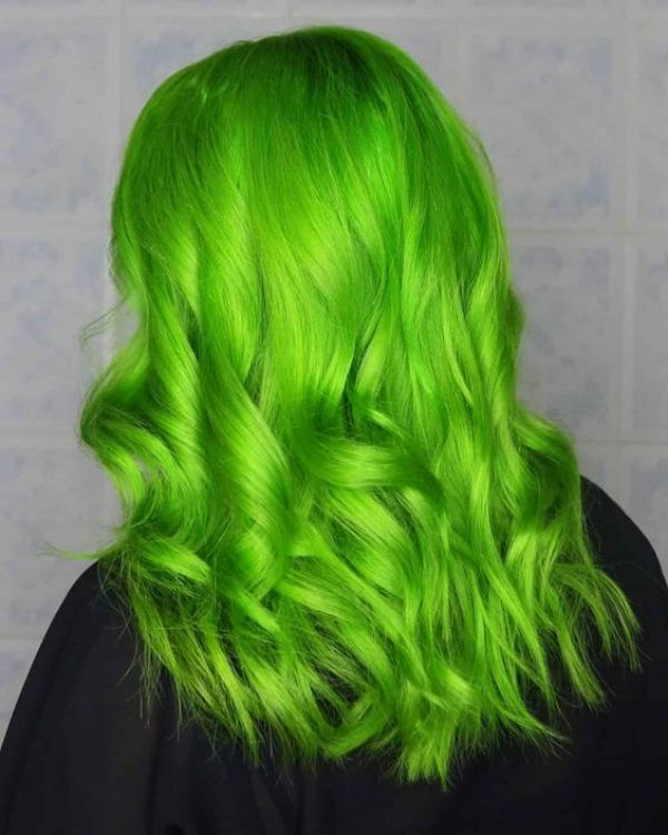 Neon Green Colored Hair