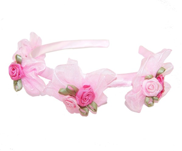Girls flower girl white or pink head band-444