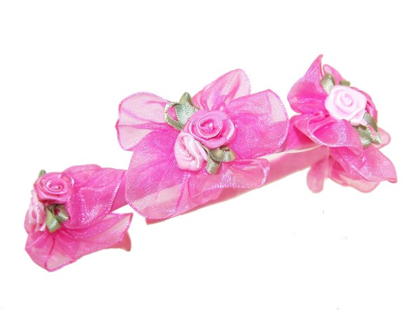 Girls flower girl white or pink head band-440