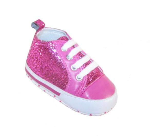 Baby dark pink sparkly trainers-876