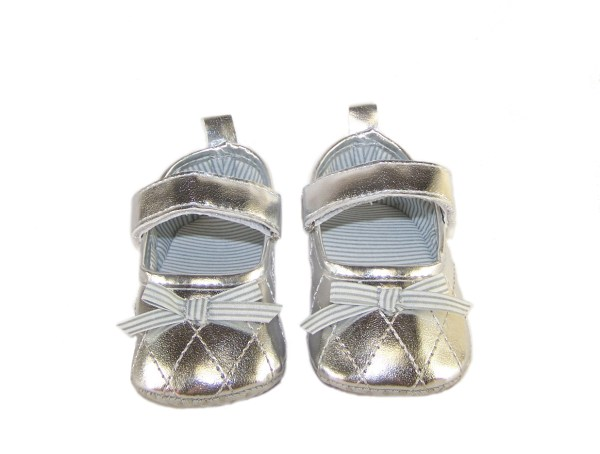 Baby silver metallic party shoes-888