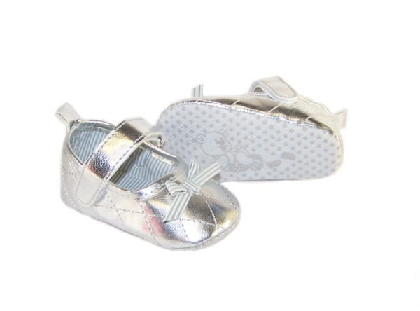 Baby silver metallic party shoes-889