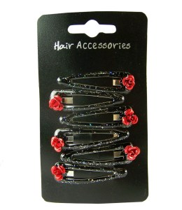 Girls red flower hair clips pack of 6