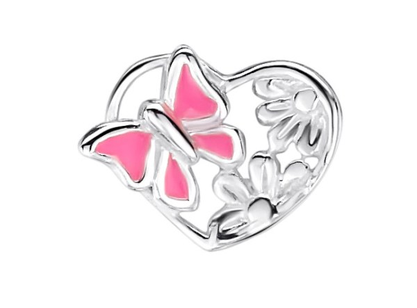 Girls sterling silver pink butterfly heart necklace-1429