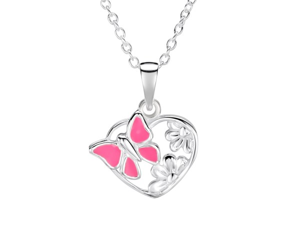 Girls sterling silver pink butterfly heart necklace-1430