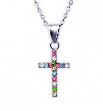 Girls silver necklace with crystal cross pendant-0