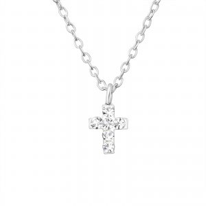Girls silver necklace with cross pendant