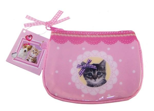 Girls pink kitten purse