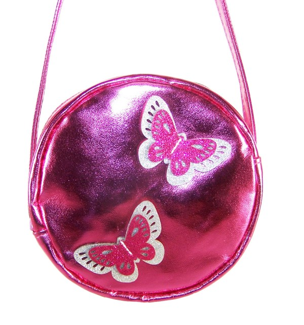 Girls round pink over the body bag with sparkly butterflies-2862