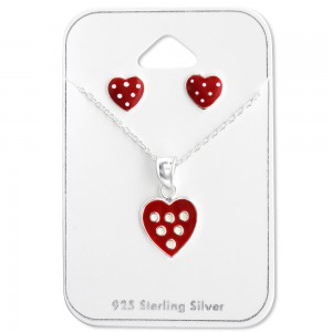Girls red heart silver necklace and earrings set-0