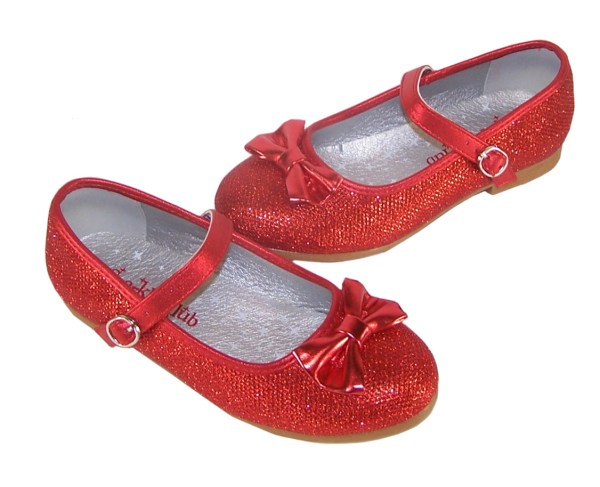 Girls red sparkly balllerina shoes with red heart shaped bag-5827