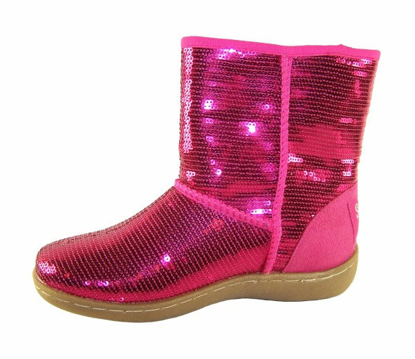 Girls pink sequin pull up ankle boots-3283