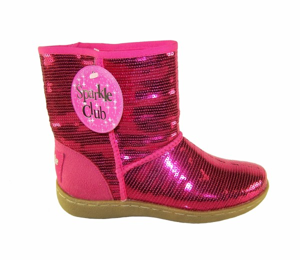 Girls pink sequin pull up ankle boots-0