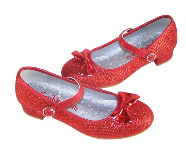Girls red sparkly heeled shoes with red heart bag-3982