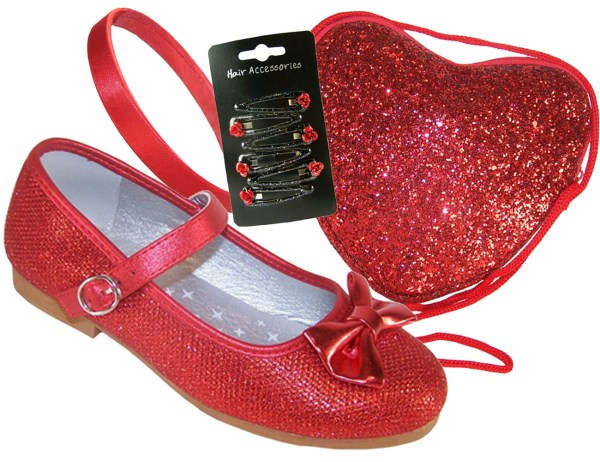 Girls red sparkly flat shoes with red bag - Gift Set-0