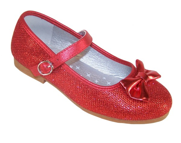 Girls red sparkly flat shoes with red bag - Gift Set-4555
