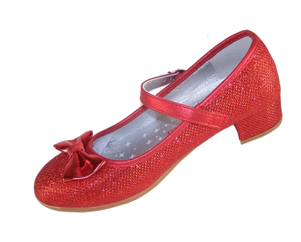 Girls red sparkly low heeled shoes - Gift Set-3989