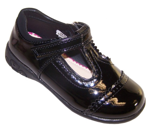 Girls black patent school shoes with lights-0