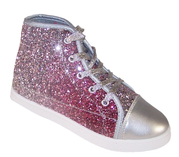 Girls pink and silver glitter high top skater shoes -0