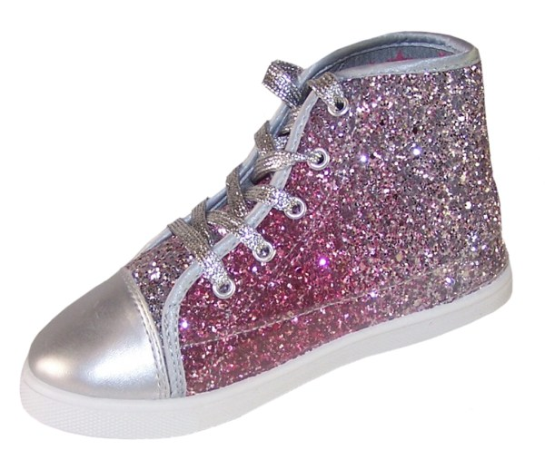 Girls pink and silver glitter high top skater shoes -3784