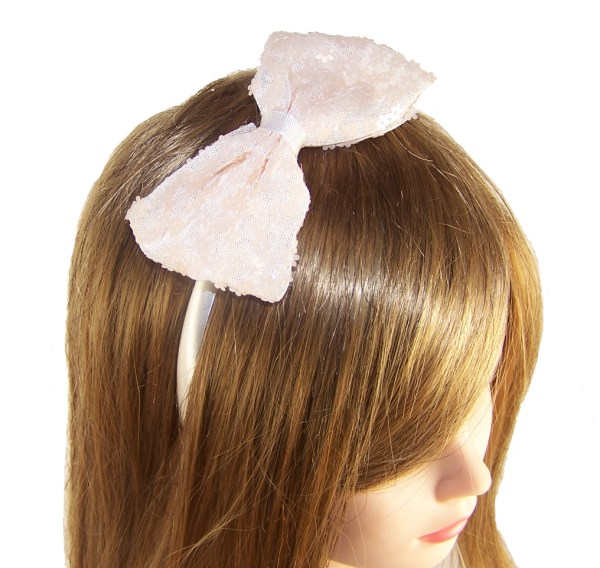 Girls satin headband with large sequin flower bow-3793