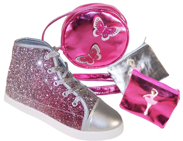 Girls pink and silver glitter high top sparkly trainers gift set-0