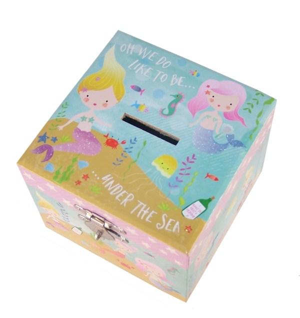 Mermaids sparkly money box-3951