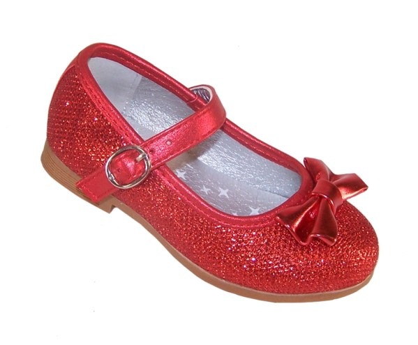 Infant girls red sparkly ballerina party shoes-0