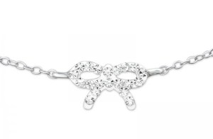 Girls 925 sterling silver bracelet with a crystal bow