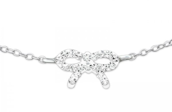 Girls 925 sterling silver bracelet with a crystal bow-0